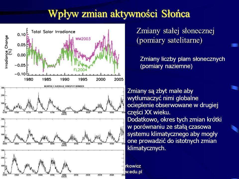 11/10/2013 Krzysztof Markowicz kmark@igf.fuw.edu.pl Wpływ zmian aktywności Słońca Zmiany stałej słonecznej (pomiary satelitarne) Zmiany liczby plam sł