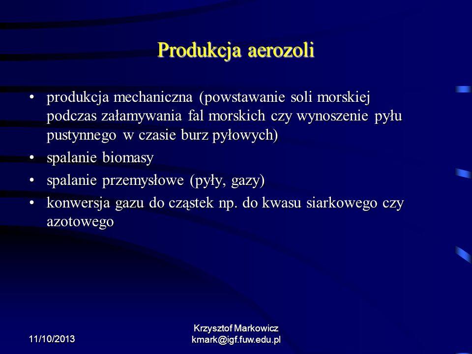 11/10/2013 Krzysztof Markowicz kmark@igf.fuw.edu.pl Produkcja aerozoli produkcja mechaniczna (powstawanie soli morskiej podczas załamywania fal morski