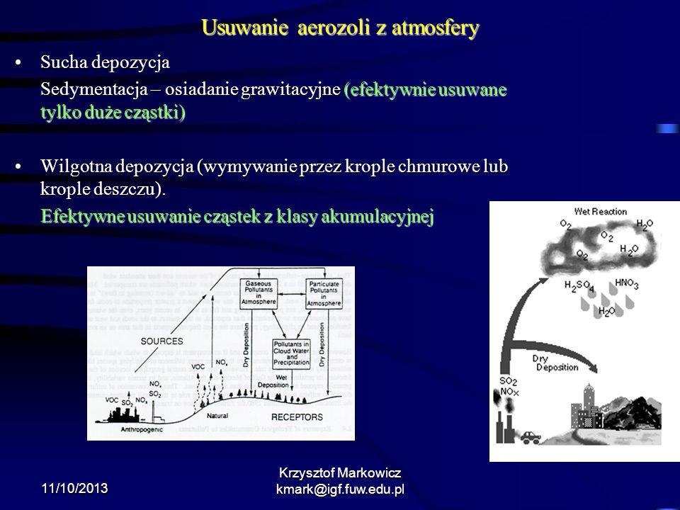 11/10/2013 Krzysztof Markowicz kmark@igf.fuw.edu.pl Usuwanie aerozoli z atmosfery Sucha depozycjaSucha depozycja Sedymentacja – osiadanie grawitacyjne