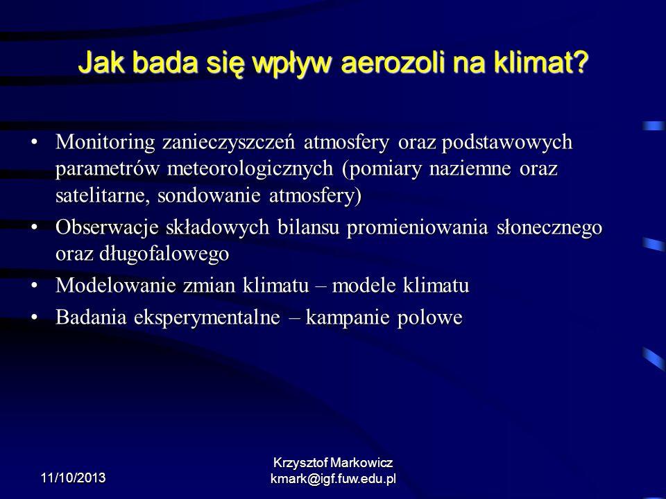 11/10/2013 Krzysztof Markowicz kmark@igf.fuw.edu.pl Jak bada się wpływ aerozoli na klimat? Monitoring zanieczyszczeń atmosfery oraz podstawowych param