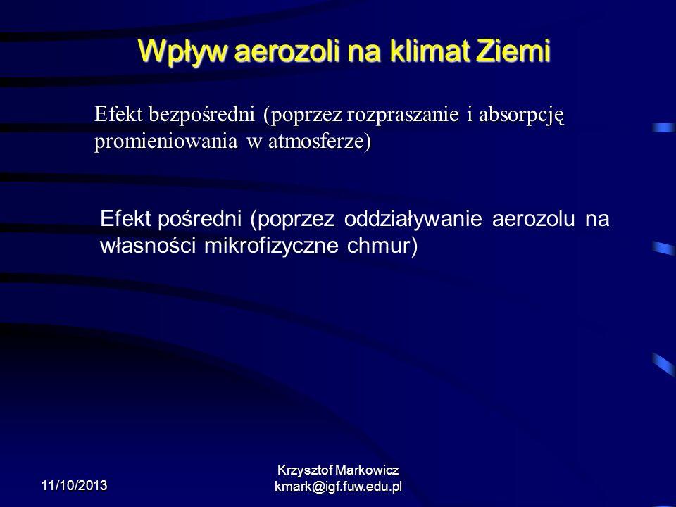 11/10/2013 Krzysztof Markowicz kmark@igf.fuw.edu.pl Wpływ aerozoli na klimat Ziemi Efekt bezpośredni (poprzez rozpraszanie i absorpcję promieniowania