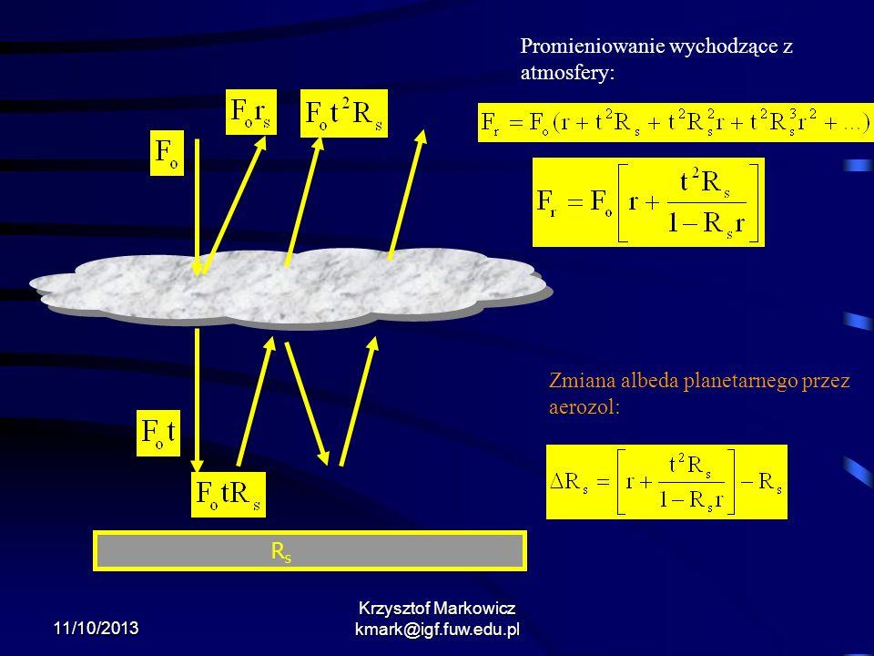 11/10/2013 Krzysztof Markowicz kmark@igf.fuw.edu.pl RsRs Promieniowanie wychodzące z atmosfery: Zmiana albeda planetarnego przez aerozol: