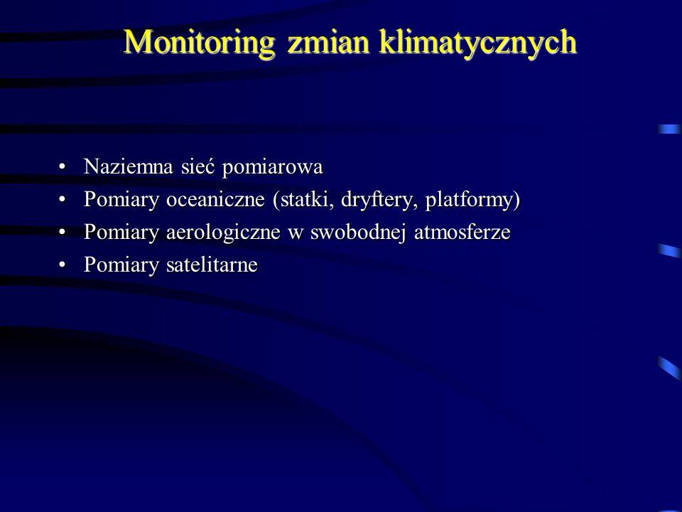 Monitoring zmian klimatycznych Naziemna sieć pomiarowaNaziemna sieć pomiarowa Pomiary oceaniczne (statki, dryftery, platformy)Pomiary oceaniczne (stat