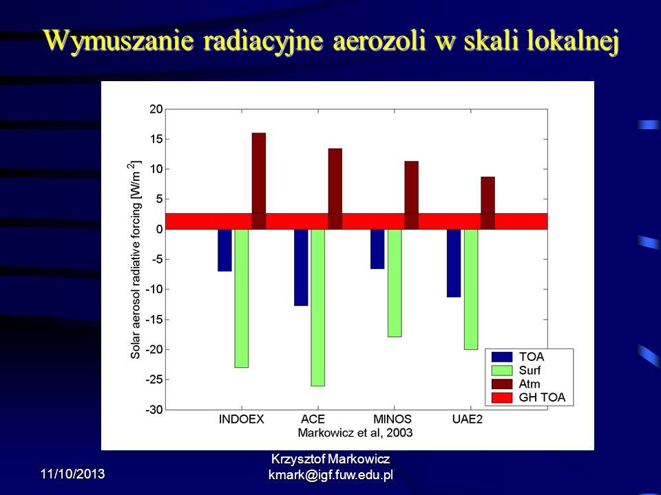 11/10/2013 Wymuszanie radiacyjne aerozoli w skali lokalnej