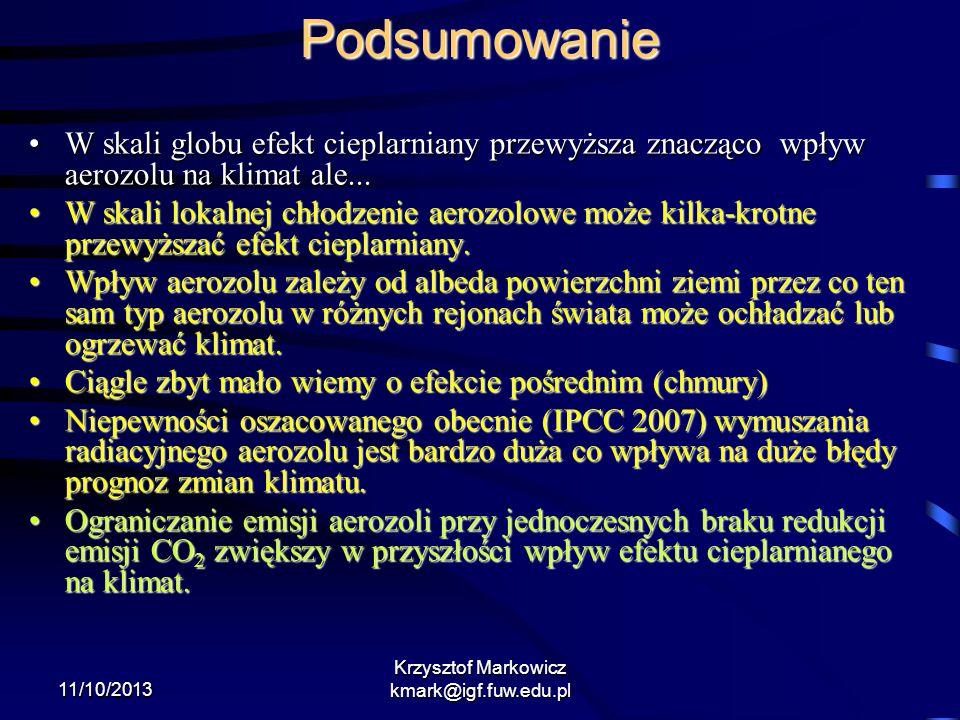 11/10/2013 Krzysztof Markowicz kmark@igf.fuw.edu.pl Podsumowanie W skali globu efekt cieplarniany przewyższa znacząco wpływ aerozolu na klimat ale...W
