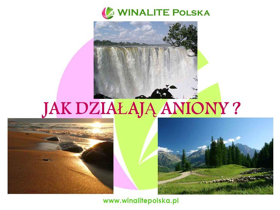 www.winalitepolska.pl Ilo ść anionów w naszym otoczeniu przy wodospadach 1 000 000 /cm 3 w górach, nad morzem 2 000 – 5 000 /cm 3 w lesie 2 000 – 3 000 /cm 3 na łąkach 1 000 /cm 3 w pomieszczeniach 100 – 200 /cm 3 w biurach 40 – 60 /cm 3 WINALITE Polska