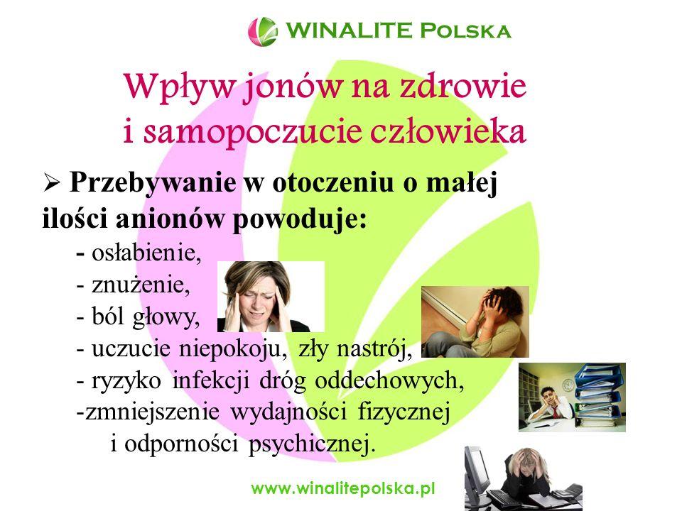 www.winalitepolska.pl Mi ę dzynarodowa Organizacja Zdrowia og ł osi ł a, i ż minimalna ilo ść anionów w powietrzu powinna wynosi ć 1000 anionów/cm 3 WINALITE Polska