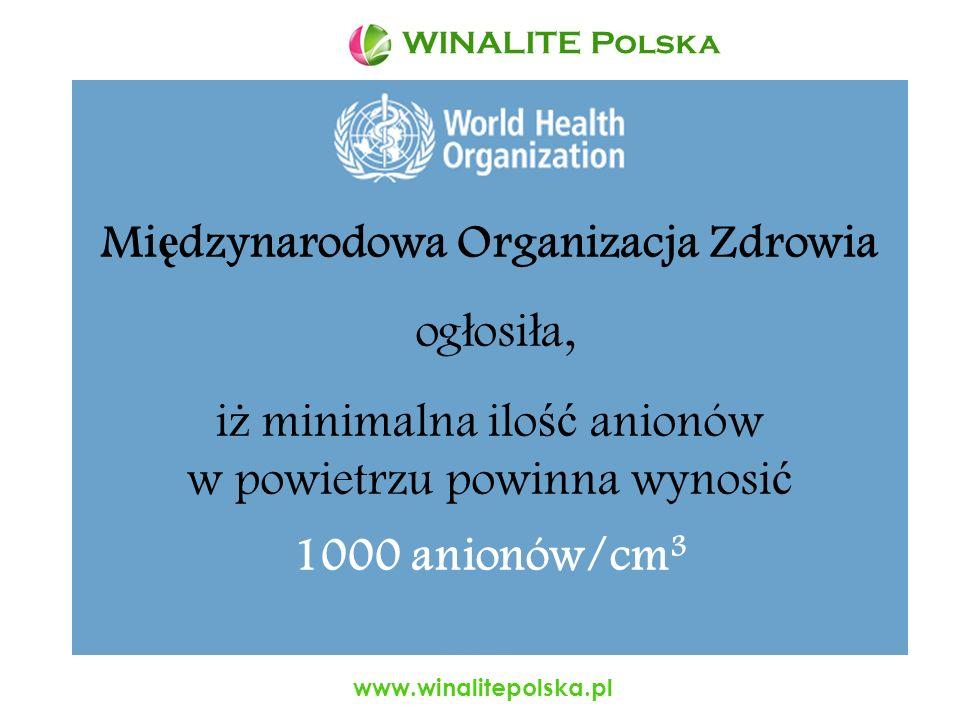www.winalitepolska.pl Je ś li zawarto ść anionów we wn ę trzu pomieszcze ń mieszkalnych podnie ść do 1500 na 1cm 3, to: możemy odczuć poprawę naszego aasamopoczucia, zaczynamy pracować ze zdwojoną energią, podwyższa się jakość naszej pracy.