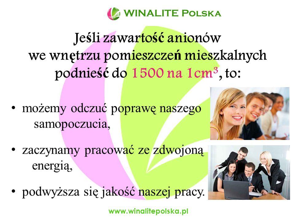 www.winalitepolska.pl Ujemna jonizacja wp ł ywa korzystnie na nasze samopoczucie i nasz ą sprawno ść psychofizyczn ą.