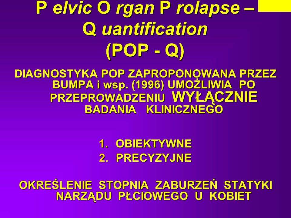 P elvic O rgan P rolapse – Q uantification (POP - Q) DIAGNOSTYKA POP ZAPROPONOWANA PRZEZ BUMPA i wsp. (1996) UMOŻLIWIA PO PRZEPROWADZENIU WYŁĄCZNIE BA