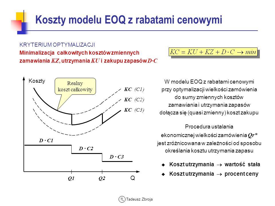 Tadeusz Zbroja Koszty modelu EOQ z rabatami cenowymi KRYTERIUM OPTYMALIZACJI Minimalizacja całkowitych kosztów zmiennych zamawiania KZ, utrzymania KU