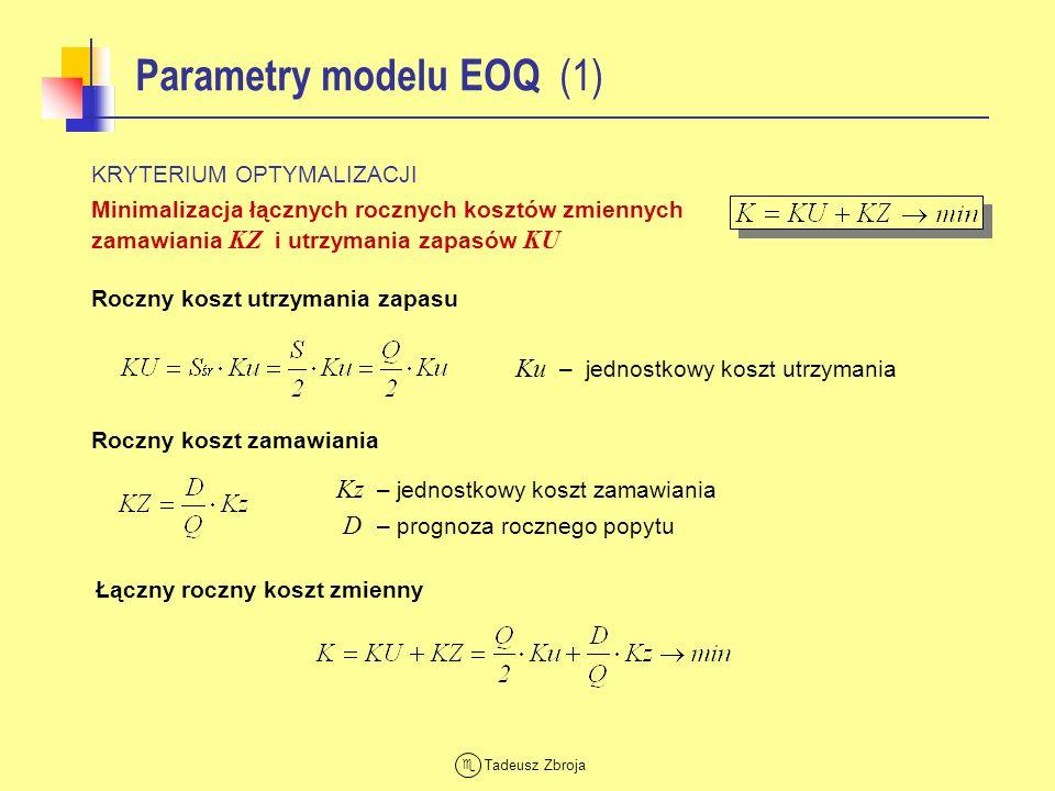 Tadeusz Zbroja Parametry modelu EOQ (1) KRYTERIUM OPTYMALIZACJI Minimalizacja łącznych rocznych kosztów zmiennych zamawiania KZ i utrzymania zapasów K