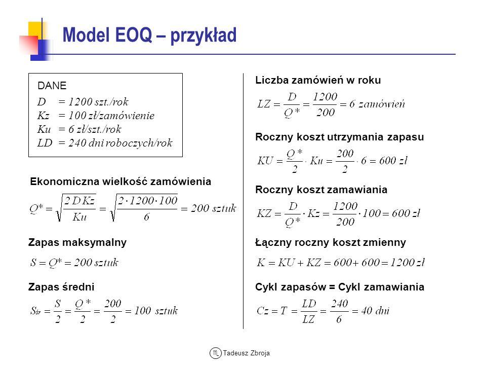 Tadeusz Zbroja Koszty modelu EOQ z rabatami cenowymi KRYTERIUM OPTYMALIZACJI Minimalizacja całkowitych kosztów zmiennych zamawiania KZ, utrzymania KU i zakupu zapasów D·C Q Koszty KC (C1) Q1 KC (C2) KC (C3) D · C1 D · C2 D · C3 Q2 Realny koszt całkowity W modelu EOQ z rabatami cenowymi przy optymalizacji wielkości zamówienia do sumy zmiennych kosztów zamawiania i utrzymania zapasów dołącza się (quasi zmienny) koszt zakupu Procedura ustalania ekonomicznej wielkości zamówienia Qr* jest zróżnicowana w zależności od sposobu określania kosztu utrzymania zapasu Koszt utrzymania wartość stała Koszt utrzymania procent ceny