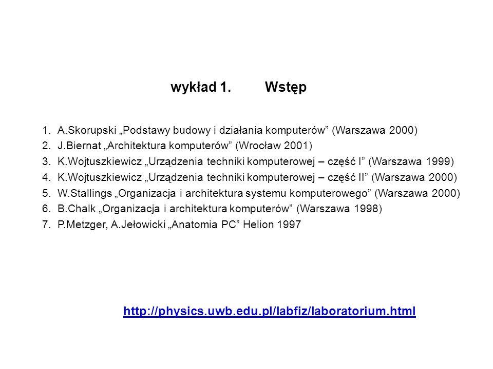1.A.Skorupski Podstawy budowy i działania komputerów (Warszawa 2000) 2.J.Biernat Architektura komputerów (Wrocław 2001) 3.K.Wojtuszkiewicz Urządzenia