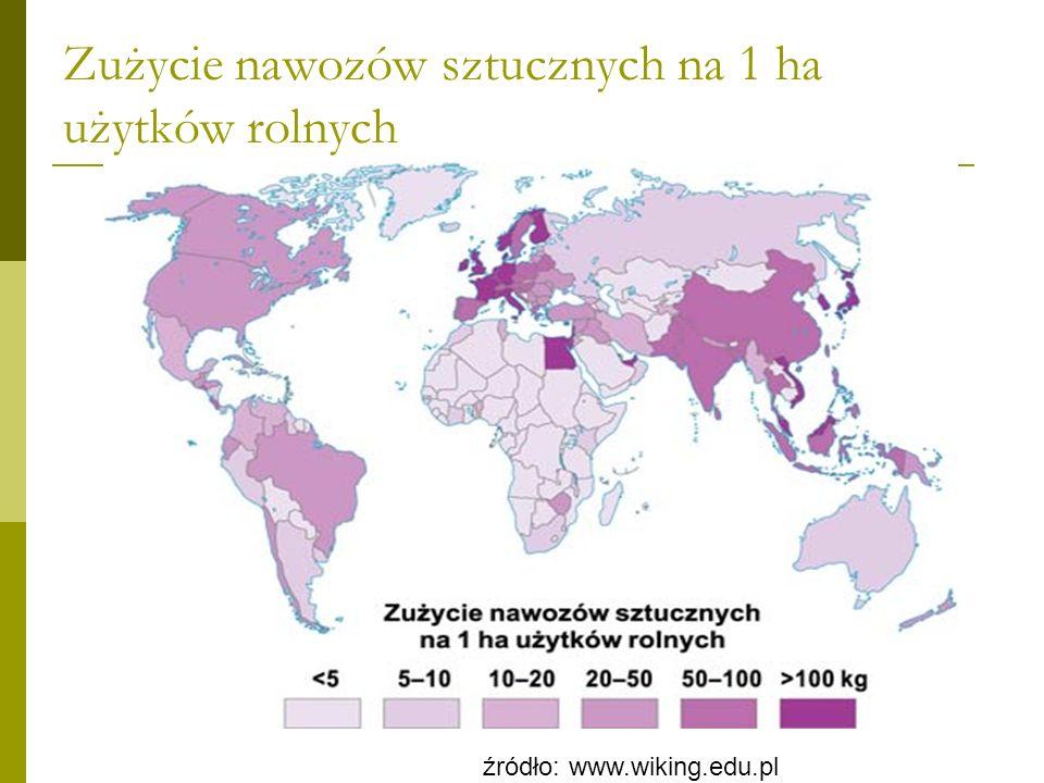 Liczba ciągników na 1000 ha gruntów ornych źródło: www.wiking.edu.pl