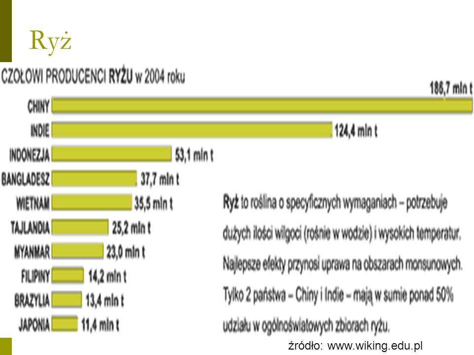 Ryż - plony Największe: Egipt - 85 USA - 67 Chiny – 64 Japonia – 63 Najmniejsze: Indie – 30 Bangladesz – 28 Tajlandia – 22 Filipiny - 29