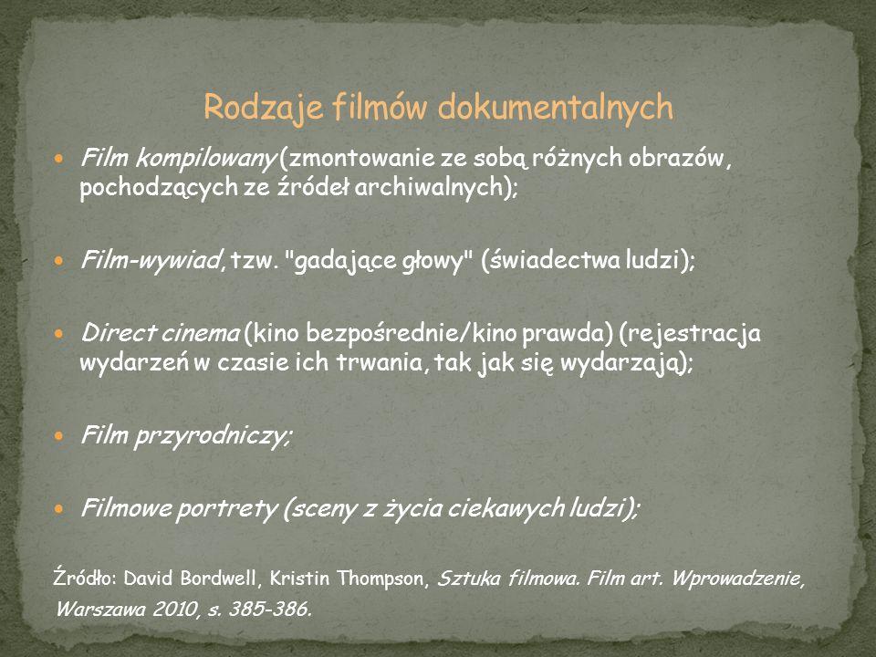 Film kompilowany (zmontowanie ze sobą różnych obrazów, pochodzących ze źródeł archiwalnych); Film-wywiad, tzw.