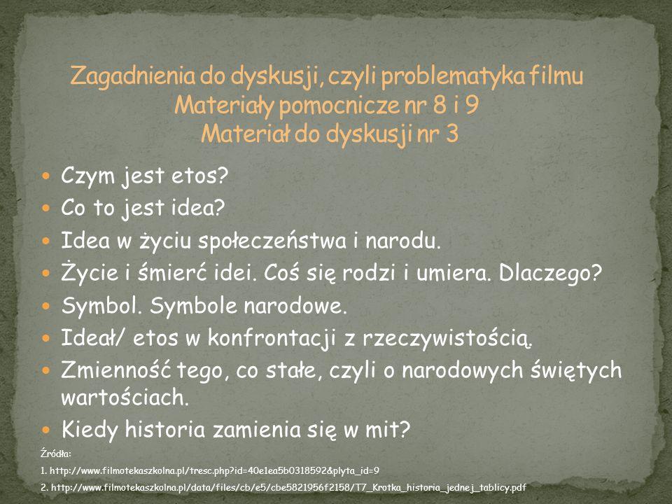 Czym jest etos? Co to jest idea? Idea w życiu społeczeństwa i narodu. Życie i śmierć idei. Coś się rodzi i umiera. Dlaczego? Symbol. Symbole narodowe.