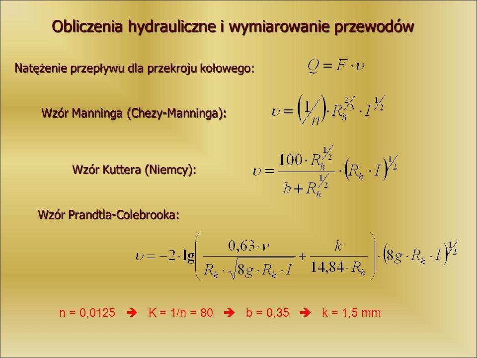 Obliczenia hydrauliczne i wymiarowanie przewodów Natężenie przepływu dla przekroju kołowego: Wzór Manninga (Chezy-Manninga): Wzór Kuttera (Niemcy): Wz