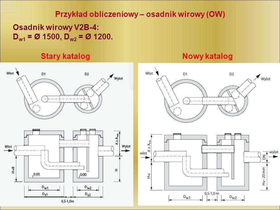 Przykład obliczeniowy – osadnik wirowy (OW) Osadnik wirowy V2B-4: D w1 = Ø 1500, D w2 = Ø 1200. Stary katalogNowy katalog