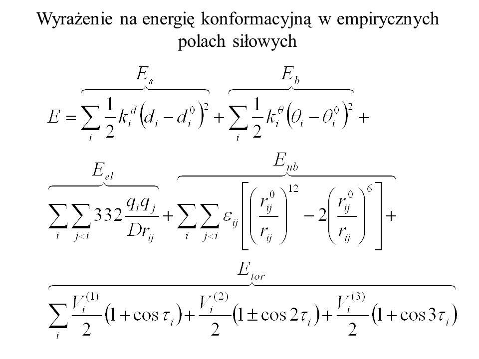 tylko E b Oddziaływania wiążące tylko E s Oddziaływania 1,4-niewiążące E el +E nb Oddziaływania 1,5-niewiążące E el +E VdW Oddziaływania torsyjne E tor Podział energii oddziaływań w mechanice molekularnej ze względu na topologiczną odległość atomów