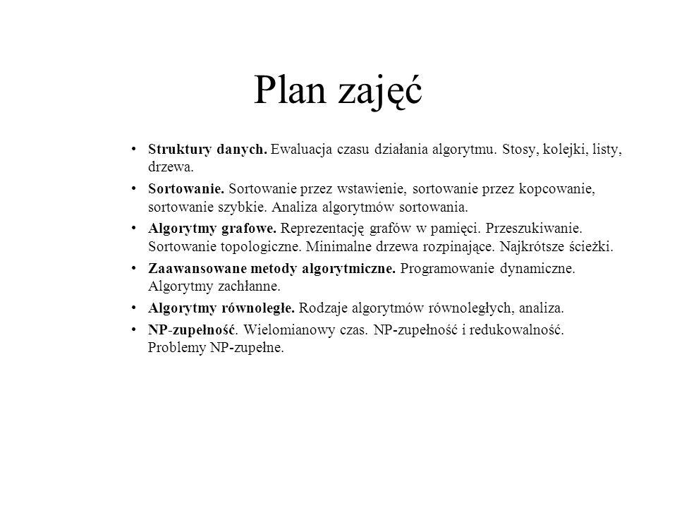 Plan zajęć Struktury danych. Ewaluacja czasu działania algorytmu. Stosy, kolejki, listy, drzewa. Sortowanie. Sortowanie przez wstawienie, sortowanie p