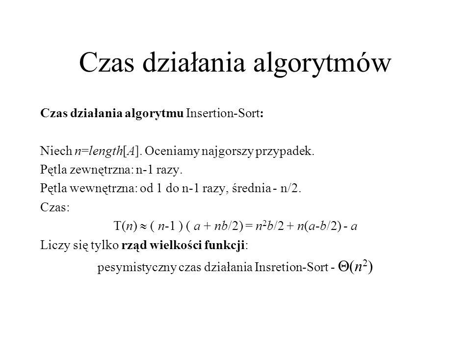 Czas działania algorytmów Czas działania algorytmu Insertion-Sort: Niech n=length[A]. Oceniamy najgorszy przypadek. Pętla zewnętrzna: n-1 razy. Pętla