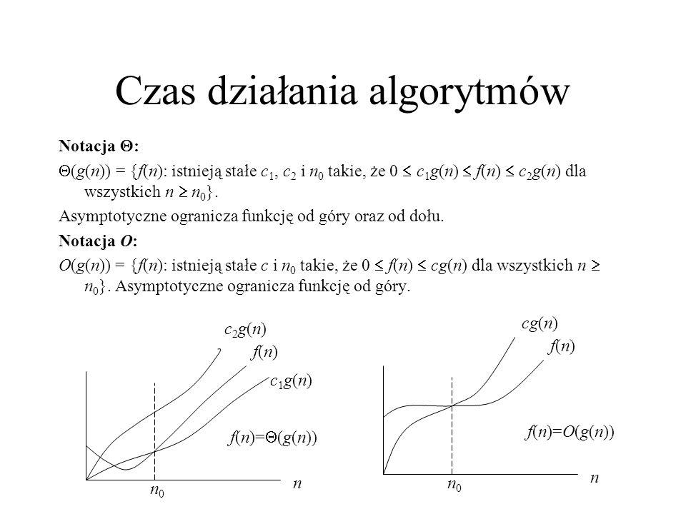 Czas działania algorytmów Notacja : (g(n)) = {f(n): istnieją stałe c 1, c 2 i n 0 takie, że 0 c 1 g(n) f(n) c 2 g(n) dla wszystkich n n 0 }. Asymptoty
