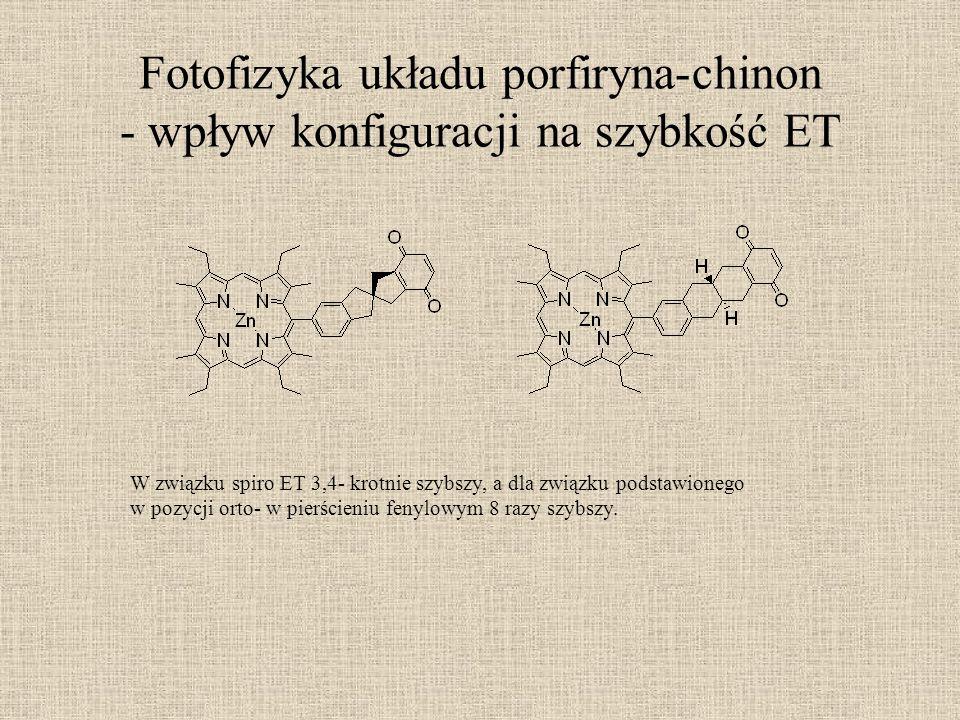 Fotofizyka układu porfiryna-chinon - wpływ konfiguracji na szybkość ET W związku spiro ET 3,4- krotnie szybszy, a dla związku podstawionego w pozycji