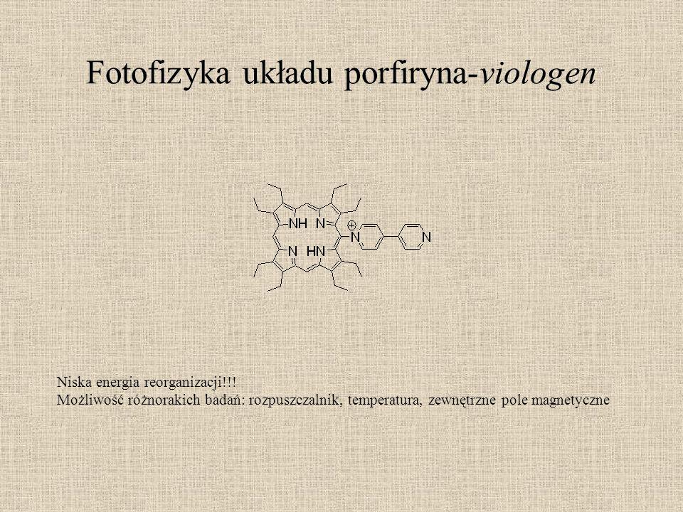 Fotofizyka układu porfiryna-viologen Niska energia reorganizacji!!! Możliwość różnorakich badań: rozpuszczalnik, temperatura, zewnętrzne pole magnetyc