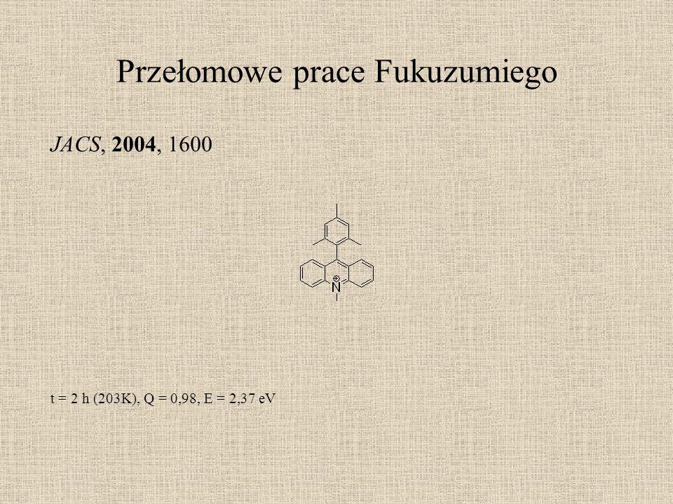 Przełomowe prace Fukuzumiego JACS, 2004, 1600 t = 2 h (203K), Q = 0,98, E = 2,37 eV