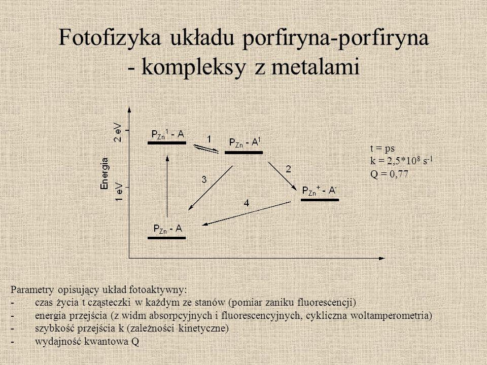Fotofizyka układu porfiryna-porfiryna - kompleksy z metalami Parametry opisujący układ fotoaktywny: -czas życia t cząsteczki w każdym ze stanów (pomia