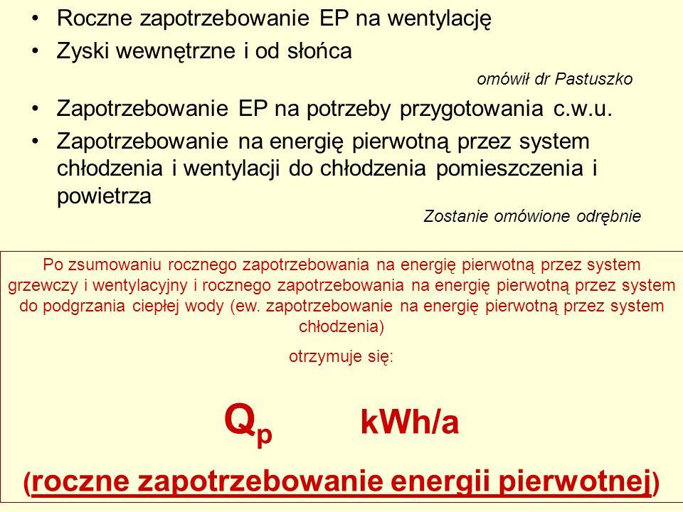 Roczne zapotrzebowanie EP na wentylację Zyski wewnętrzne i od słońca omówił dr Pastuszko Zapotrzebowanie EP na potrzeby przygotowania c.w.u. Zapotrzeb