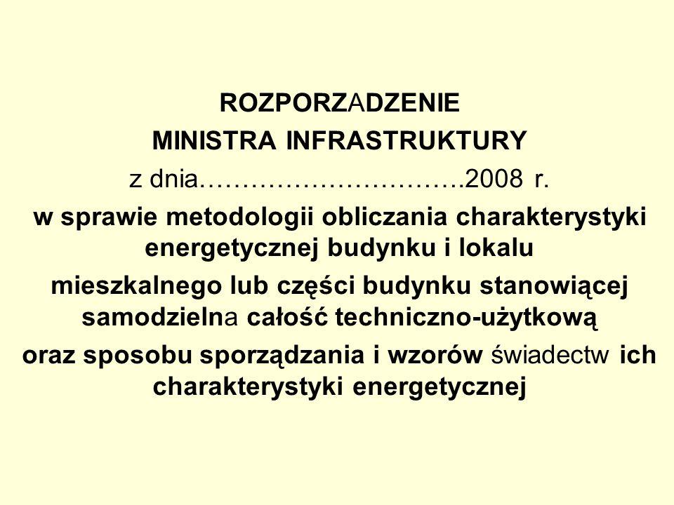 ROZPORZADZENIE MINISTRA INFRASTRUKTURY z dnia………………………….2008 r. w sprawie metodologii obliczania charakterystyki energetycznej budynku i lokalu mieszk