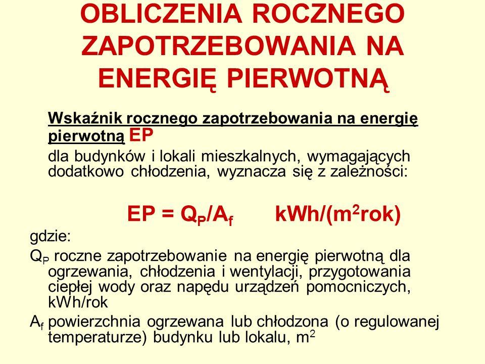 OBLICZENIA ROCZNEGO ZAPOTRZEBOWANIA NA ENERGIĘ PIERWOTNĄ Wskaźnik rocznego zapotrzebowania na energię pierwotną EP dla budynków i lokali mieszkalnych,