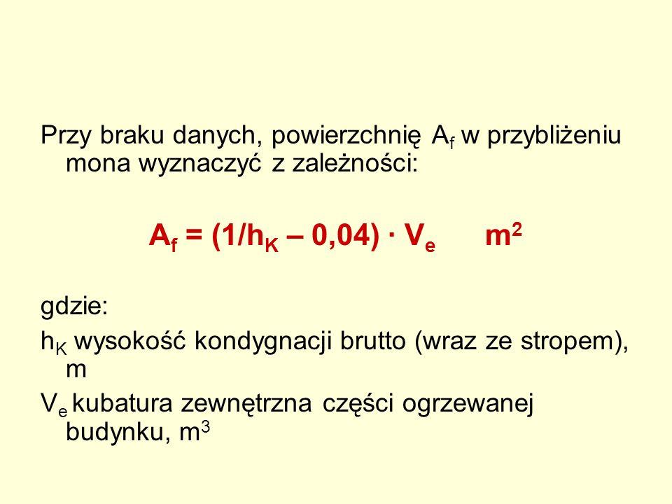 Przy braku danych, powierzchnię A f w przybliżeniu mona wyznaczyć z zależności: A f = (1/h K – 0,04) · V e m 2 gdzie: h K wysokość kondygnacji brutto