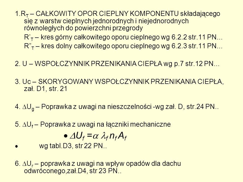 WSPOŁCZYNNIK PRZENIKANIA PRZEGRÓD Z MOSTKAMI LINIOWYMI U K = U C + U (8), (9), (10), (11 ) 8.