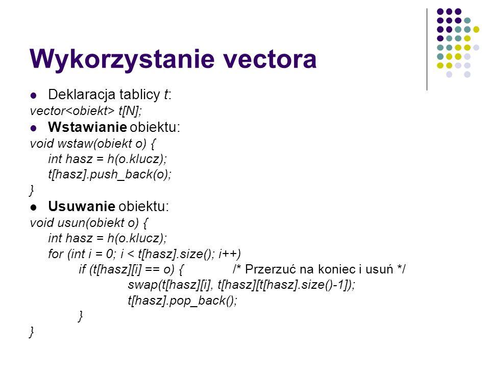 Wykorzystanie vectora Deklaracja tablicy t: vector t[N]; Wstawianie obiektu: void wstaw(obiekt o) { int hasz = h(o.klucz); t[hasz].push_back(o); } Usu