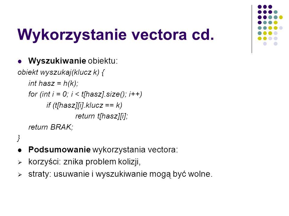 Wykorzystanie vectora cd. Wyszukiwanie obiektu: obiekt wyszukaj(klucz k) { int hasz = h(k); for (int i = 0; i < t[hasz].size(); i++) if (t[hasz][i].kl