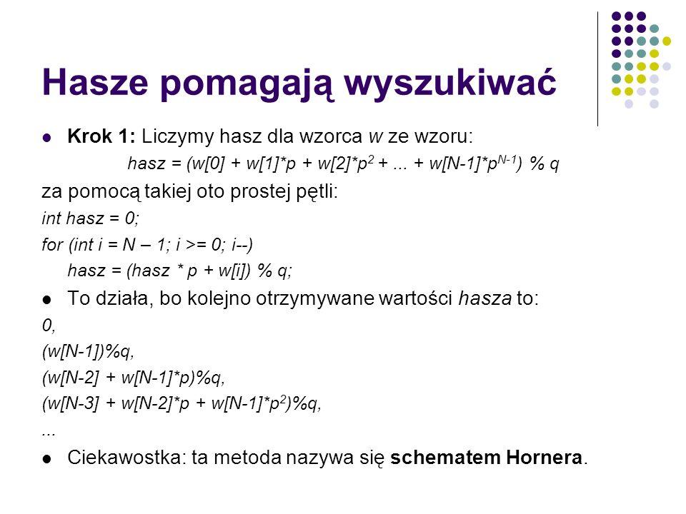 Hasze pomagają wyszukiwać Krok 1: Liczymy hasz dla wzorca w ze wzoru: hasz = (w[0] + w[1]*p + w[2]*p 2 +... + w[N-1]*p N-1 ) % q za pomocą takiej oto