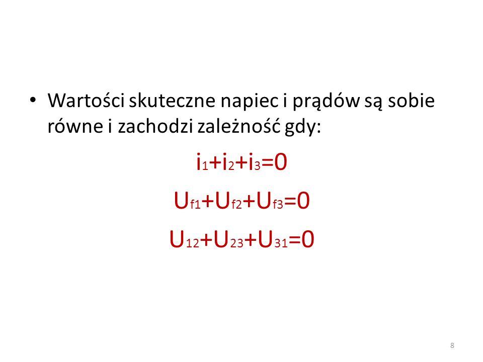 8 Wartości skuteczne napiec i prądów są sobie równe i zachodzi zależność gdy: i 1 +i 2 +i 3 =0 U f1 +U f2 +U f3 =0 U 12 +U 23 +U 31 =0