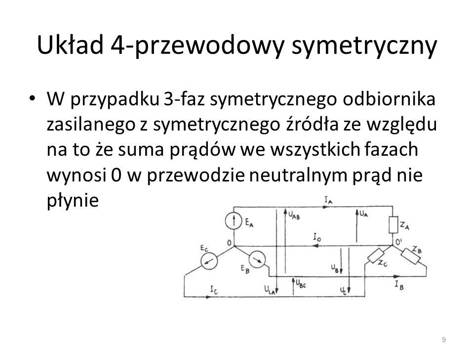 Układ 4-przewodowy symetryczny W przypadku 3-faz symetrycznego odbiornika zasilanego z symetrycznego źródła ze względu na to że suma prądów we wszystk