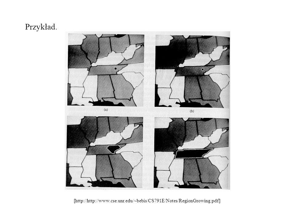 Przykład. [http://http://www.cse.unr.edu/~bebis/CS791E/Notes/RegionGrowing.pdf]