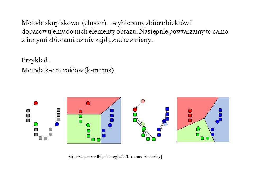 Metoda skupiskowa (cluster) – wybieramy zbiór obiektów i dopasowujemy do nich elementy obrazu. Następnie powtarzamy to samo z innymi zbiorami, aż nie