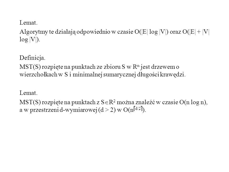 Lemat. Algorytmy te działają odpowiednio w czasie O( E  log  V ) oraz O( E  +  V  log  V ). Definicja. MST(S) rozpięte na punktach ze zbioru S w R n j