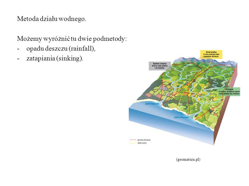 Metoda działu wodnego. Możemy wyróżnić tu dwie podmetody: -opadu deszczu (rainfall), -zatapiania (sinking). (geomatura.pl)