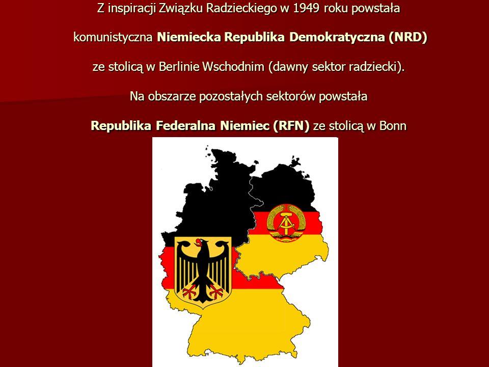 Z inspiracji Związku Radzieckiego w 1949 roku powstała komunistyczna Niemiecka Republika Demokratyczna (NRD) ze stolicą w Berlinie Wschodnim (dawny sektor radziecki).