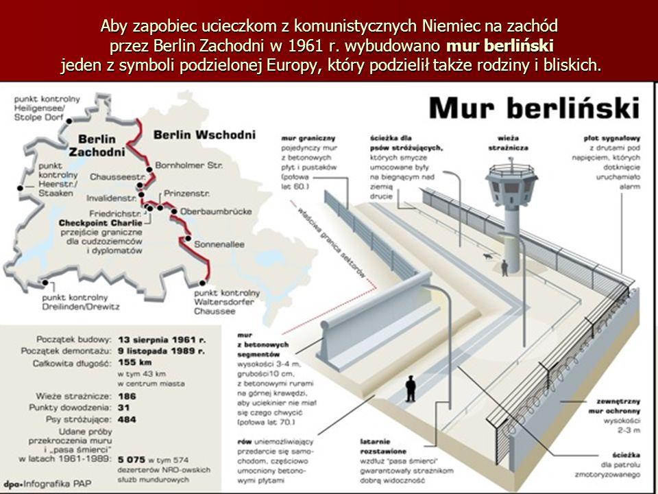 Aby zapobiec ucieczkom z komunistycznych Niemiec na zachód przez Berlin Zachodni w 1961 r. wybudowano mur berliński jeden z symboli podzielonej Europy