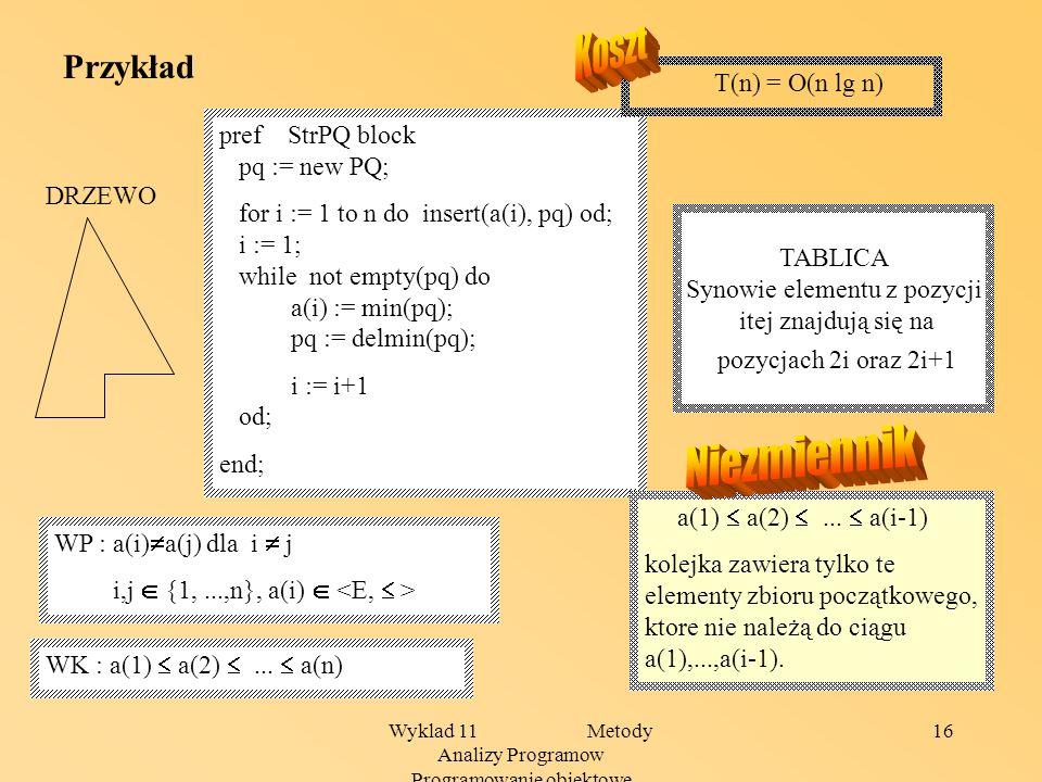 Wyklad 11 Metody Analizy Programow Programowanie obiektowe 15 Przykładowa implementacja unit StrE : class; unit rel : function (e1,e2 : E): boolean; e