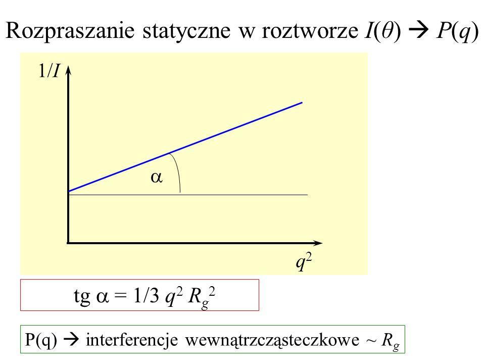 1/I q2q2 tg = 1/3 q 2 R g 2 Rozpraszanie statyczne w roztworze I(θ) P(q) P(q) interferencje wewnątrzcząsteczkowe ~ R g